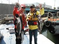 <p>沖一文字でハネ・チヌ好釣!</p> <p>堺市のスガチャン、松山様、51~58cmのハネ・42と47cmのチヌ</p> <p>ウキ釣り 餌シラサエビ</p>