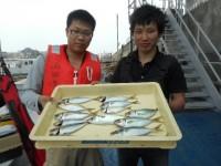 <p>沖の一文字でアジも釣れ始めました!!</p> <p>大阪市の古林・菊山様、沖の一文字で、2人でアジ23㌢ 14匹</p> <p>サビキ 餌アミエビ</p>