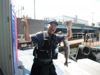 <p>高槻市の吉田様、沖の北で、49cmのハネ</p> <p>ウキ釣り 餌シラサエビ</p>