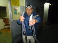 <p>本日も強風の中、堺市の吉村様</p> <p>沖の北で、タチウオ 4匹</p> <p>浮き釣り サンマ</p>