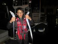 <p>和泉市の伊藤様、沖の一文字南で指4本のタチウオ2匹釣られました!</p> <p>ワインドでの釣果です。</p>