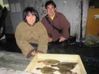 <p>堺市の本村様、沖の一文字北で、カレイ31cmまで4匹・ガシラ2匹</p> <p>投げ釣り 餌アオイソメ</p>