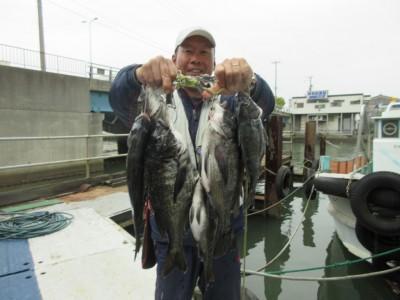 <p>和泉市の松原様、沖の一文字で、チヌ 40cmまで6匹</p> <p>フカセ釣り 餌オキアミ</p>