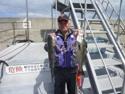 <p>東大阪市の今中様、沖一文字白灯で</p> <p>48cm、52cmのハネ2匹です!!</p> <p>ウキ釣り、餌・シラサエビ</p>