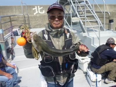 <p>松原市の中島様、沖一文字で</p> <p>60㎝のスズキです!!</p> <p>釣り方・エビ撒き釣り</p>