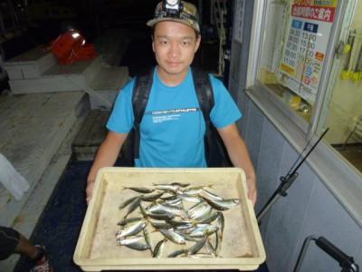 <p>茨木市の渡辺様、旧一文字赤灯で</p> <p>豆アジ・イワシ30匹程</p> <p>釣り方・サビキ</p>