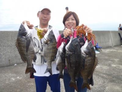 <p>和泉市の松原夫婦、沖の一文字北で、チヌ 49cmまで5匹</p> <p>落とし込み 餌イガイ</p>