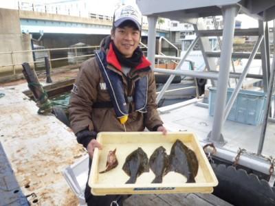 <p>吹田市の金井様、沖の一文字北で、カレイ 35㎝まで3匹</p> <p>投げ釣り 餌青イソメ</p>
