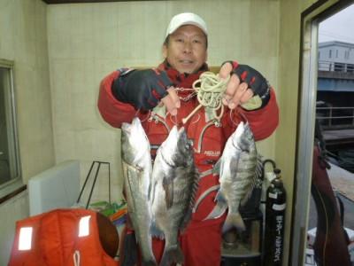 <p>和泉市の松原様、旧の一文字白灯で、チヌ 37cmまで2匹・ハネ 41㎝ 1匹</p> <p>ウキ釣り 餌シラサエビ</p>