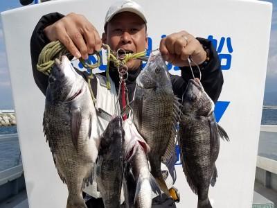 <p>和泉市の松原様、沖の一文字白灯で、チヌ 42cmまで5匹</p> <p>フカセ釣り 餌オキアミ</p>