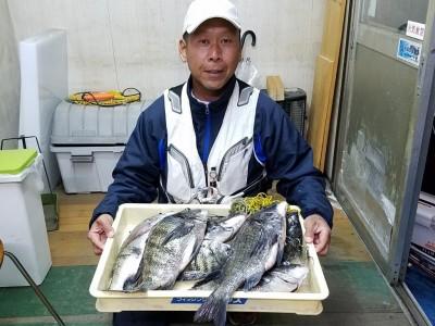 <p>和泉市の松原様、沖の一文字白灯で、チヌ 47cmまで7匹</p> <p>フカセ釣り 餌オキアミ</p>