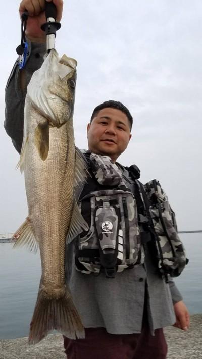 <p>大阪市の海野様、沖一文字南で</p> <p>シーバス60cm1匹</p> <p>ルアー釣り</p>
