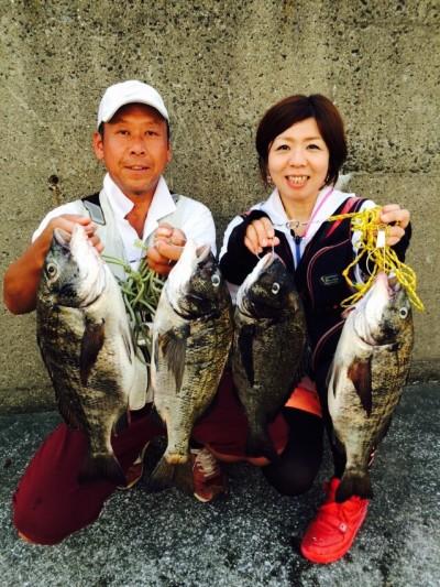 <p>和泉市の松原夫婦、沖の一文字で、チヌ 49cmまで7匹</p> <p>落とし込み 餌イガイ</p>