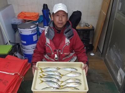 <p>和泉市の松原様、旧の一文字赤灯で、アジ 26cmまで11匹</p> <p>サビキ釣り 餌アミエビ</p>