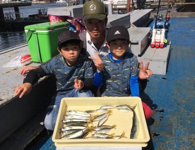<p>中村様ファミリー 沖の北 サビキ釣り 小アジ・中サバ・サゴシ</p> <p>たくさん釣れて良かったです。お揃いのTシャツもかっこいいね♪</p>
