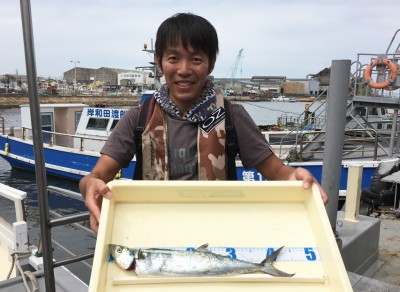 <p>大阪市の塩津様 沖の北 ビッグバッカーソフトバイブ サゴシ45cm</p> <p>10時半頃にHitしたとの事です。その他小アジも大漁でしたよ♪ 釣果写真へのご協力、ありがとうございます。</p>