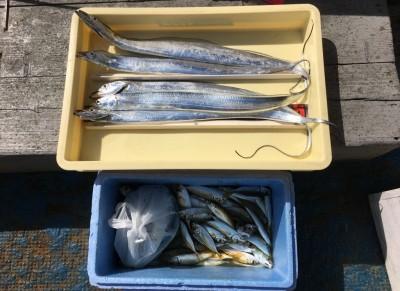 <p>齋藤様 沖の北 浮き釣り・タチウオゲッター・サビキ釣り タチウオ5匹・小アジ・中サバ多数</p> <p>夜が明けるまではタチウオ、明けてからはサビキ釣りで大漁です。釣果写真へのご協力、ありがとうございます。</p>