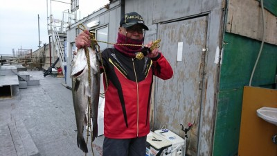 <p>中島様 旧一文字白灯 エビ撒き釣りで59.5㎝までのハネ2匹!ハネ研様例会での釣果。本日のトップ賞ですね♪</p>
