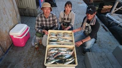 <p>永尾様 沖の北 サビキ サバ大漁/アジ/マイワシ/キス/ツバスGET</p> <p>魚種多彩に釣れてますね!ヒラメのバラシもあったそうです(^_^;)ツバスが入って来ているので、ルアーマンの方狙えますよ(^O^)おめでとうございます!</p>