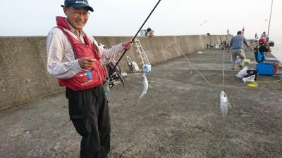 <p>リアルタイム(6:00) 沖の北内向きで中アジが釣れていました!あいかわらず豆アジと小サバが多いようですが竿下でぽつぽつと釣れていました。タコは7時の時点で南で6杯という人がいました。北は潮が止まっているようで時合い待ちといった感じ。スカリに入っているのは確認できたので釣れてはいるようです。旧は7時半に船を着けた時にちょうど2杯釣れているのを確認できました。やはり潮のタイミングとかで時合いがあるみたいです。潮が動いたタイミングでタコが移動したり、穴から顔を出したりと釣れやすい状況が出てくるんだと思います。潮が動いてない時は大きくポイント移動(同じ一文字の中で)するか、ステイを長くとって釣りのテンポをよりスローにするのがいいと思います。</p>