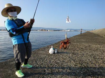 <p>タコ情報! 金土日曜とよく釣れてたんですが、今日はかなりスローペースな感じでした。潮位も変化なく潮も動いていないようで、これといって時合いもなく拾い釣り。それでも二桁釣る上手なかたもいらっしゃいました。釣れにくいだけでいないわけではないので根気よくやってください!</p>