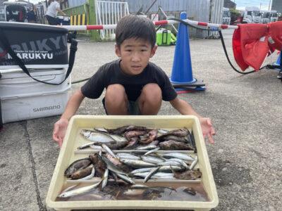 <p>ゆうし君 旧一文字赤灯 探り釣りでガシラ・メバル・豆アジ〜中アジ・ウルメイワシ GET!!沢山の魚種おめでとうございます^ ^</p>